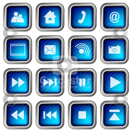 Set of Icons stock vector clipart, Set of Blue Modern 3D Square Web Icons by JAMDesign