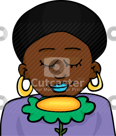 Pretty Woman Smells a Flower stock vector clipart, Beautiful Black-skinned woman with natural afro hairdo smells a big yellow flower by Eric Basir