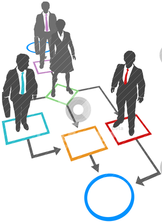 Business people solutions process management flowchart stock vector clipart, Business people are process management solutions standing on flowchart by Michael Brown