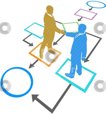 Management business people agreement flowchart process stock vector clipart, Management business people silhouettes handshake agreement in flowchart process by Michael Brown