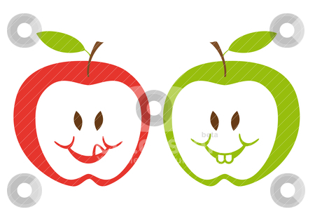 Red and green apples, vector stock vector clipart, red and green apple faces, vector illustration by Beata Kraus