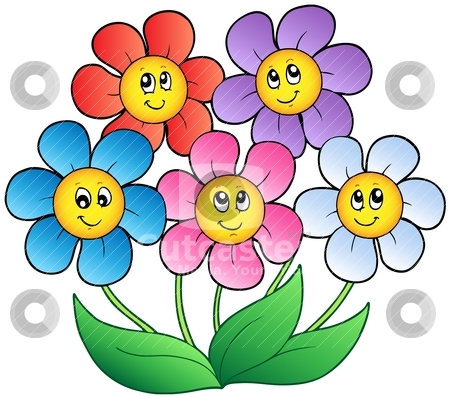 Five cartoon flowers stock vector clipart five cartoon flowers