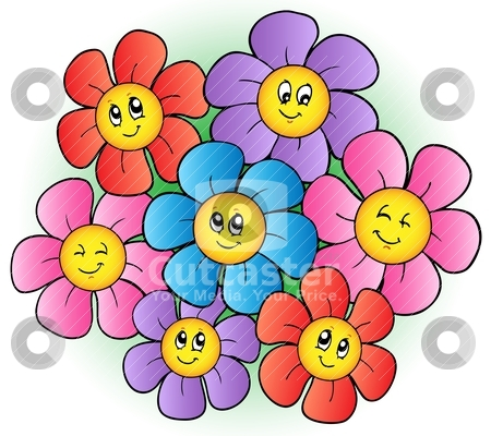 cartoon images of flowers. Group of cartoon flowers
