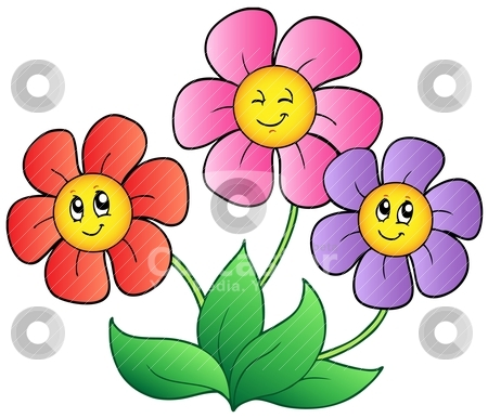 Picture Flower on Three Cartoon Flowers Vector Illustration   Download Flower Royalty