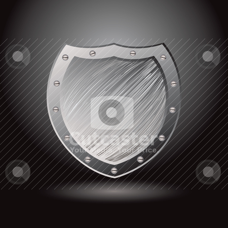 Metal brushed shield secure stock vector clipart, Solid secure metal shield with brushed surface background and spotlight by Michael Travers
