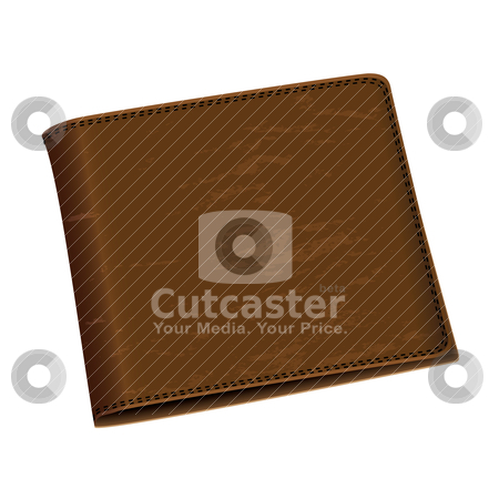 Money wallet stock vector clipart, Mens brown leather money wallet close up with black stitching by Michael Travers