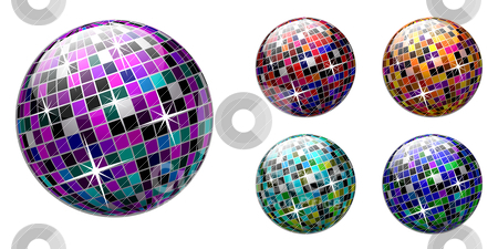 Disco ball  stock vector clipart, Vector disco ball on white background. Multicolored version. by sermax55