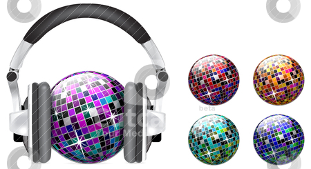 Vector disco ball on white background stock vector clipart, Vector disco ball with headphones on white background by sermax55