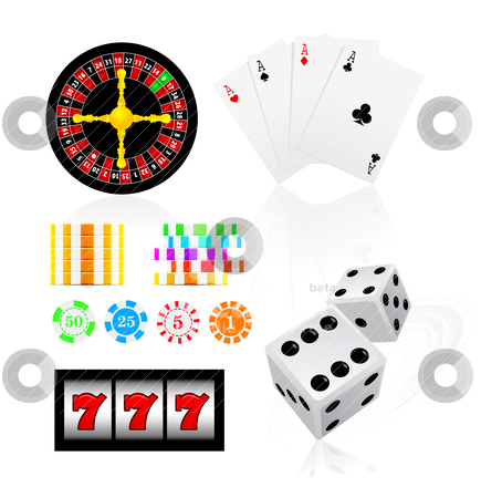 Gambling icon set stock vector clipart, gambling icon set by sermax55