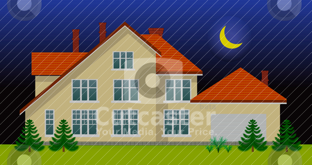 New family house in the night stock vector clipart, New family house in the night. See day version in my portfolio by sermax55