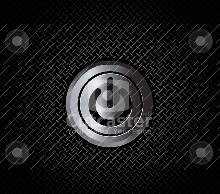The mettal button power  stock vector clipart, The mettal button power on black metal pattern by sermax55