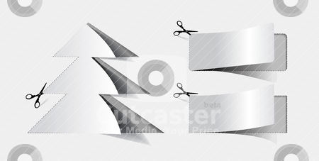 Blank white advertising coupo stock vector clipart, Blank white advertising coupon cut from sheet of paper by sermax55