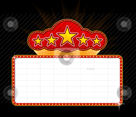 Blank movie, theater or casino marquee stock vector clipart, Blank movie, theater or casino marquee with stars isolated on black background by sermax55
