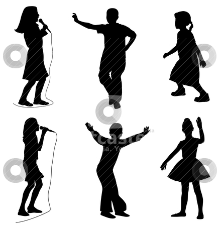 Kids singing dancing stock vector clipart, Illustration of kids singing and dancing. Isolated white background. EPS file available. by Edvard Molnar
