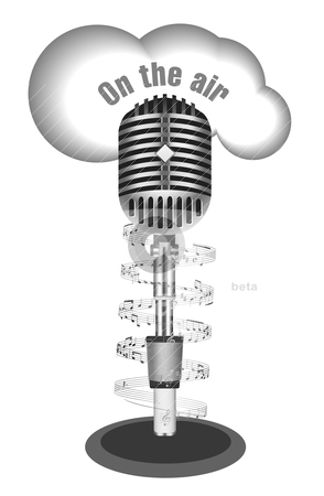Antique microphone with music note stock vector clipart, Antique microphone with music note on white by sermax55