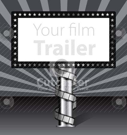Billboard with film strip illustration stock vector clipart, Billboard with film strip illustration by sermax55