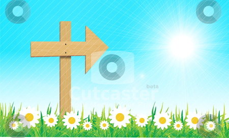 Wooden sign with grass vector stock vector clipart, wooden sign with grass and camomile vector illustration by sermax55