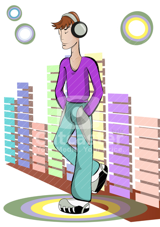 The guy listens to music stock vector clipart, The guy listens to music through headphones on the background of the equalizer. Vector illustration. by olzya