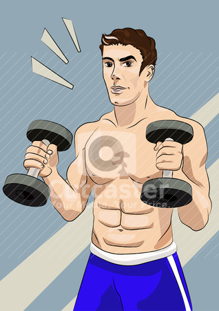 Athletic man with dumbbells stock vector clipart, A handsome young man with athletic body, holding a dumbbell. by olzya