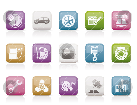 Car parts, services and characteristics icons stock vector clipart, car parts, services and characteristics icons - vector icon set by Stoyan Haytov