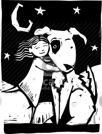 Huggy Dog stock vector clipart, Girl gives a really big dog a hug. by Jeffrey Thompson