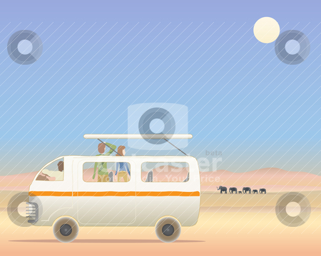 On safari stock vector clipart, an illustration of people in a matatu on safari in africa with elephants under a blue sky by Mike Smith