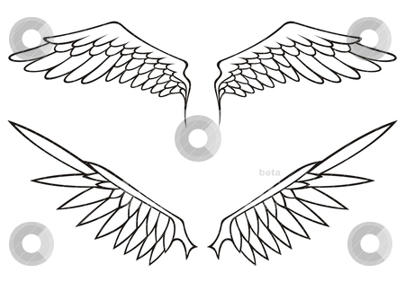 Wings set stock vector clipart, Two pairs of white open angel or bird wings isolated on white background. by fractal.gr