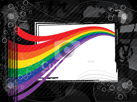Rainbow background stock vector clipart, Rainbow background in black and white environment by Alberto Rigamonti