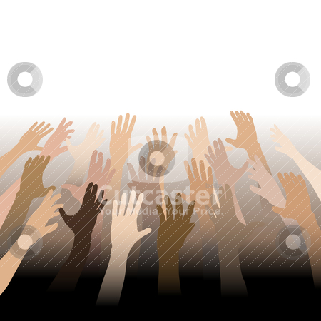 Diverse People Hands Reach Up Out to Copy Space stock vector clipart, Diverse People Hands Reach Up Out to Copy Space bleed to white and black. by Michael Brown