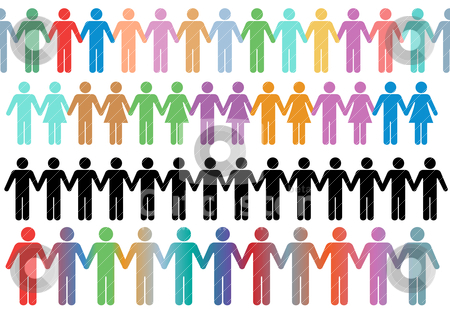 Diverse border rows  symbol people hold hands stock vector clipart, Rows of diverse stick figure symbol people and couples hold hands as borders or lines by Michael Brown