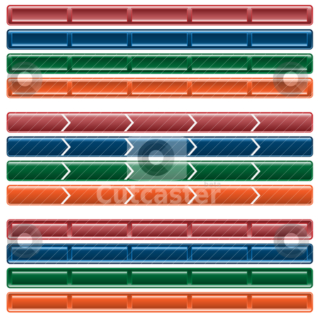 Web button navigation bars stock vector clipart, Web button navigation bars, 3 different sets in 4 colors. Isolated on white. by toots77