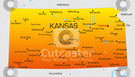 Kansas  stock vector clipart, Vector color map of Kansas state. Usa by olinchuk