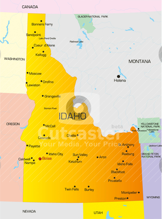 Idaho  stock vector clipart, Vector color map of Idaho state. Usa by olinchuk