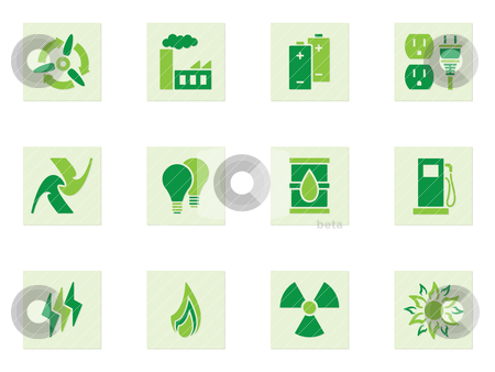 Green Energy Icons stock vector clipart, Set of green icons depicting different forms of energy and energy use by Matthew Post