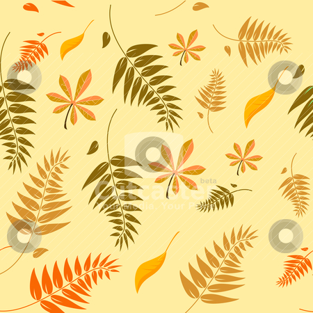 Seamless autumn leaves background  stock vector clipart, Seamless autumn leaves background with a range of different types of leaves in autumn colours which can be tiled seamlessly in all directions by Mike Price