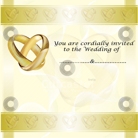 A wedding invitation card with gold rings stock vector clipart A wedding