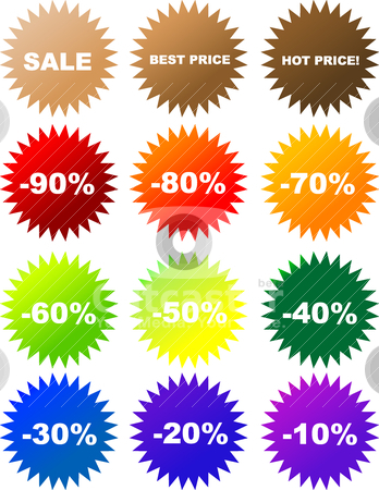 Vector sale stickers  stock vector clipart, Set of colorful vector sale stickers and labels by olinchuk