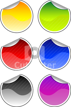 Color stickers stock vector clipart, Vector illustration of different color stickers for your design by olinchuk