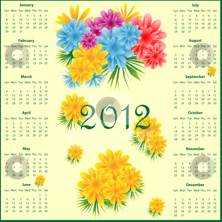Calendar 2012 with flowers stock vector clipart, Calendar 2012 year decorated with colorful flowers. by toots77