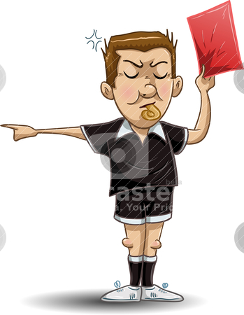 Soccer Referee Holds Red Card stock vector clipart, A Vector illustration of a soccer referee whistles, holds out a red card and points to the side. by Liron Peer