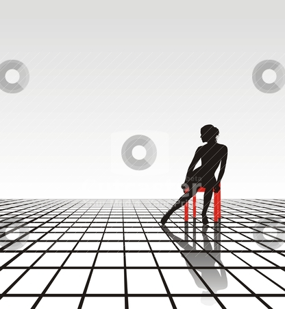 Lonely girl stock vector clipart, Lonely young woman sitting on a chair  by Vladim?