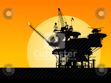 Oil platform silhouette stock vector clipart, Silhouette of an oil platform in the sunset by Richard Laschon
