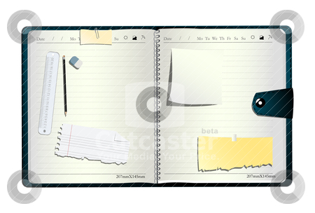 Open organizer stock vector clipart, Open organizer, with pen, eraser measuring line and sticky notes by Richard Laschon