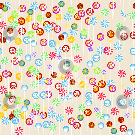 Seamless candy background stock vector clipart, Seamless candy background, cartoon art by Richard Laschon