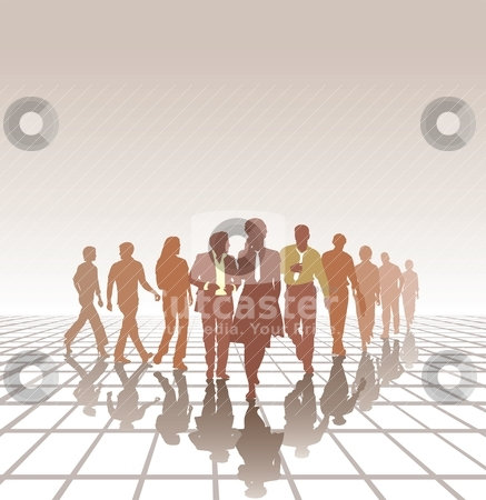 Team stock vector clipart, People in three line silhouette, color isolated vector  by Vladim?