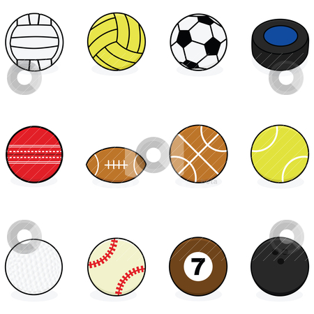 Sports balls stock vector clipart, Set with cartoon balls for different sports: volleyball, water polo, soccer, hockey, cricket, football, basketball, tennis, golf, baseball, billiards and bowling by Bruno Marsiaj
