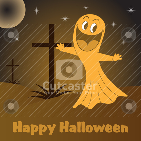 Halloween ghost cartoon stock vector clipart, Halloween ghost cartoon character in a graveyard with crosses at night. by toots77
