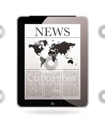 News tablet stock vector clipart, Modern computer tablet with news delivered daily to your screen by Michael Travers