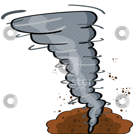 Cartoon tornado stock vector clipart, Cartoon illustration showing a tornado causing destruction  by Bruno Marsiaj