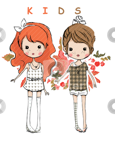 Illustration cute kids stock vector clipart, illustration drawing sketch paint vector  by studiodrawing